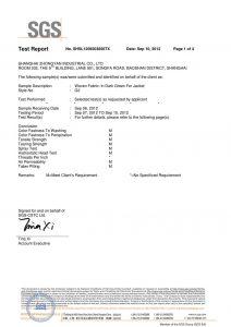 Gewebe in dunkelgrün für Jacke SGS-Zertifikate